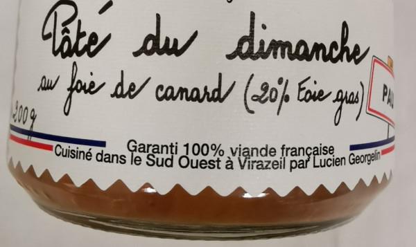 Pâté du dimanche au foie de canard (20% Foie gras)